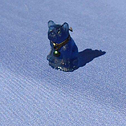French Bulldog  blue dog glass charm  perfume dangle Czechoslovakia