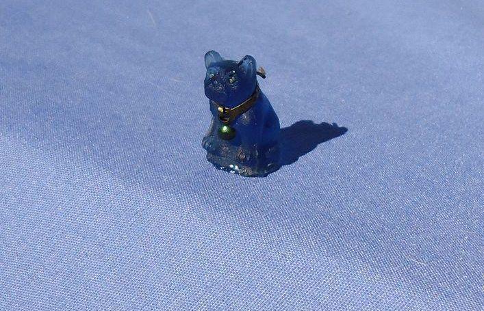 French Bulldog  blue dog glass charm  perfume dangle Czechoslovakia