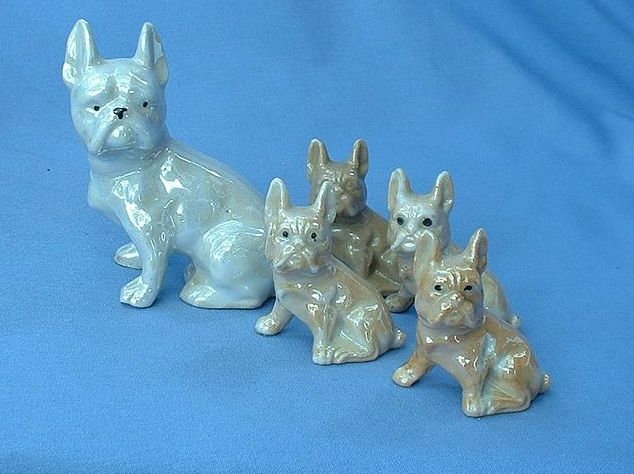 1930s lusterware French Bulldog family