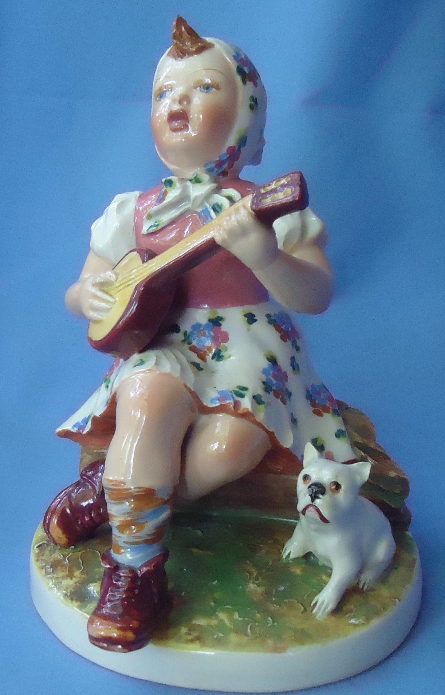 1940s French Bulldog & girl Mollica Italy 8""