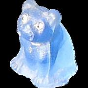 art deco frosted blue French Bulldog w rhinestone eyes perfume dangle