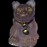 purple Amethyst frosted glass French Bulldog charm perfume dangle Czechoslovakia