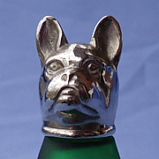 French Bulldog green satin glass silver top shaker Germany 3""