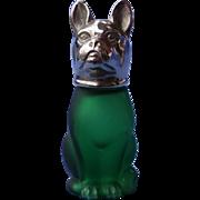 "French Bulldog green satin glass silver top shaker Germany 3"""