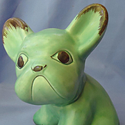 Sylvac green French bulldog England 8""