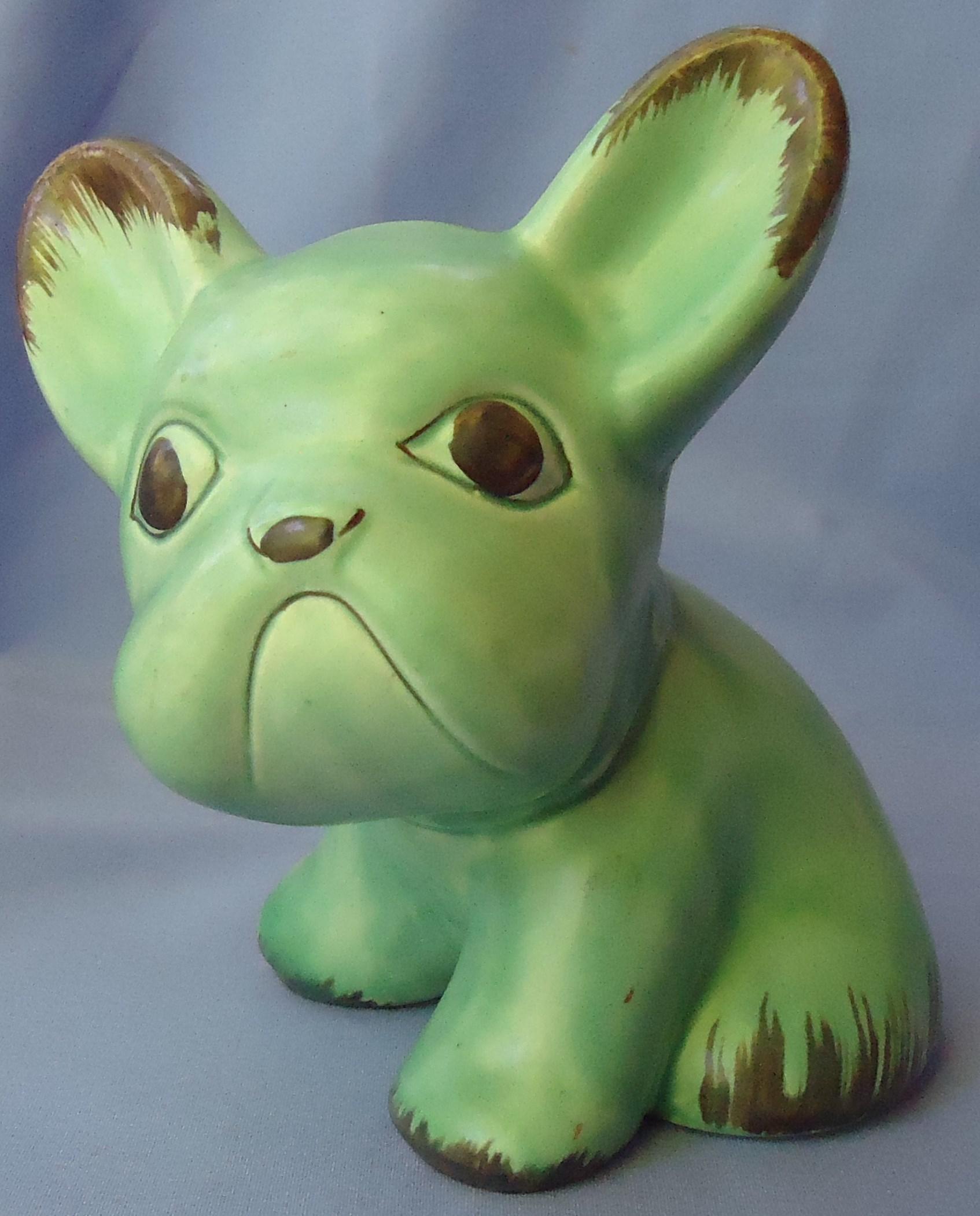 "Sylvac green French bulldog England 8"""