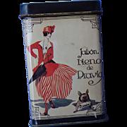 art deco girl w French Bulldog advertising tin Spain