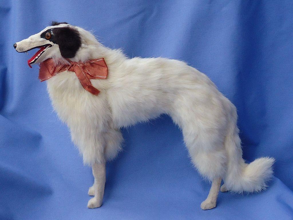 "13"" antique German fur Borzoi for French fashion doll"