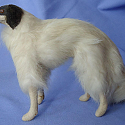 "9"" antique German fur Borzoi for French fashion doll label"