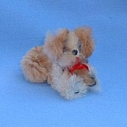 vintage  German fur toy dog 4 French fashion doll Pekingese