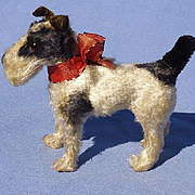 antique Fripon Fox terrier salon dog French fashion doll companion Germany label 4""