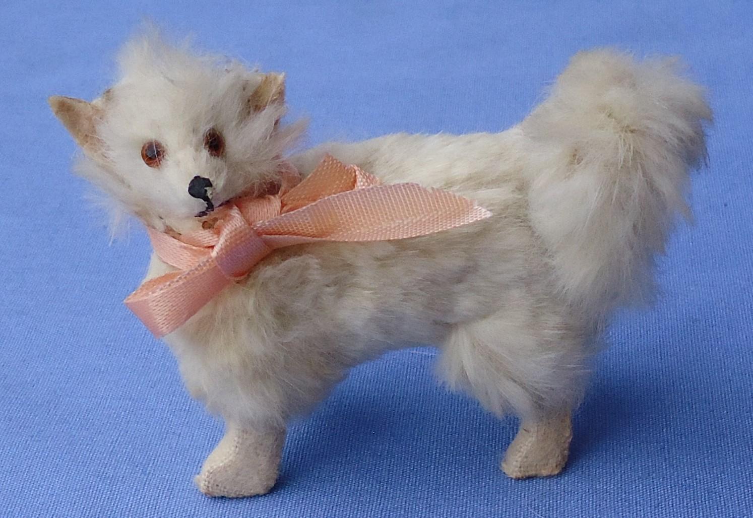 antique Pomeranian Spitz Samoyed salon dog Germany label French fashion doll