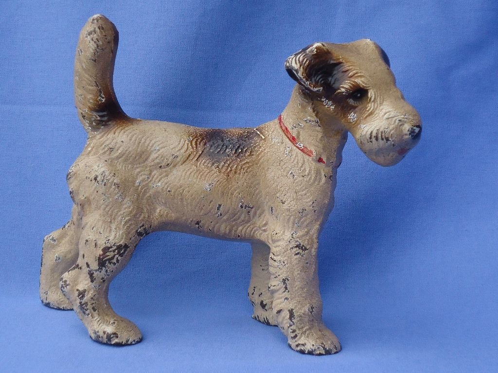 1930s Hubley Fox terrier cast iron door stop 7""