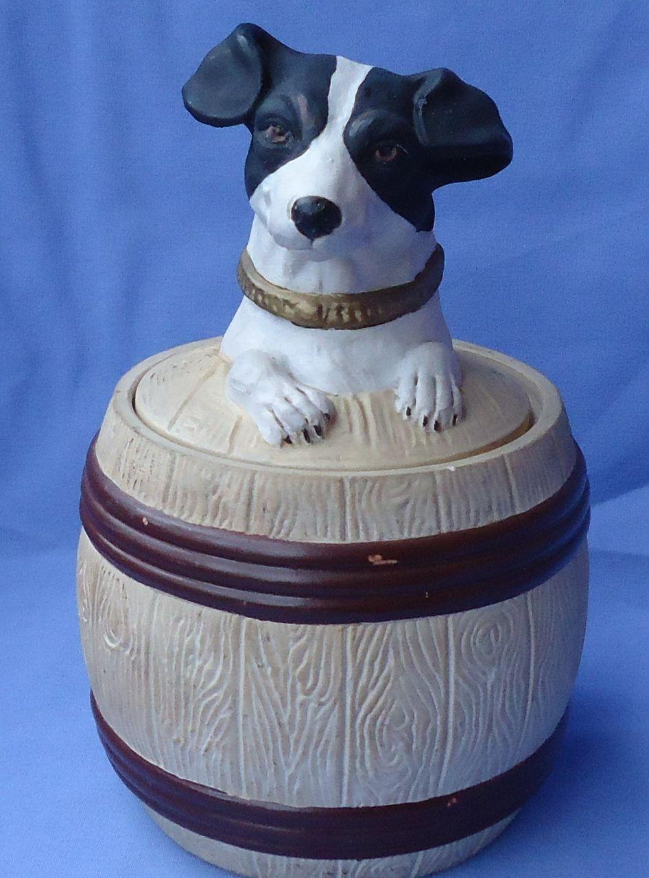 1920s fox terrier Jack Russell tobacco humidor jar Czechoslovakia