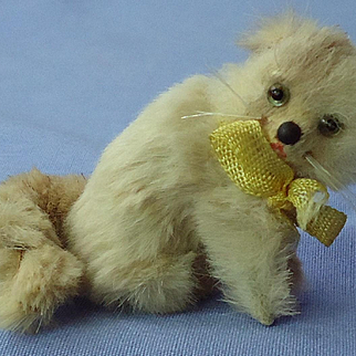 antique fur cat 4 French fashion doll Germany label