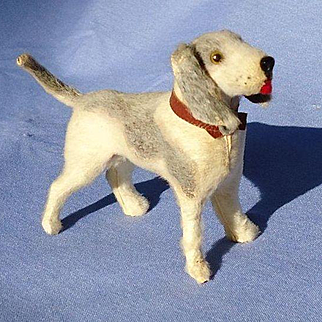 "antique  Foxhound salon dog companion  for French fashion doll Germany label 3"""