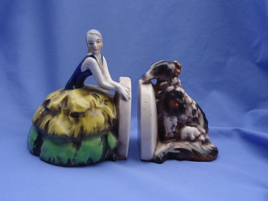1903s art deco flapper and BORZOI bookends GOEBEL Germany