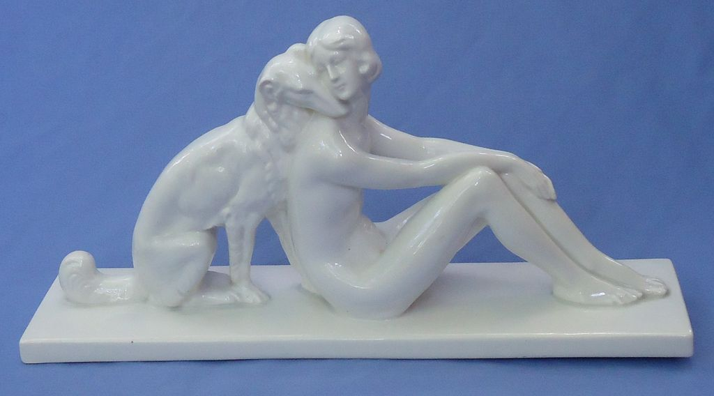 Art Deco nude & Borzoi Goebel Germany 15""