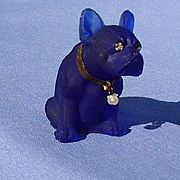 "frosted  glass French Bulldog grape jelly color perfume top 2"" Czechoslovakia"