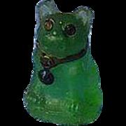 emerald green French Bulldog glass perfume dangle Czechoslovakia charm