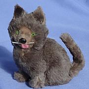 """grey fur cat French fashion doll Germany 5"""""""