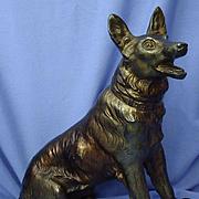 """11"""" German Shepherd Alsatian dog bronze finish metal"""