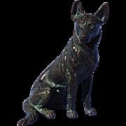 "antique Vienna bronze German Shepherd Alsatian dog Austria 6"""