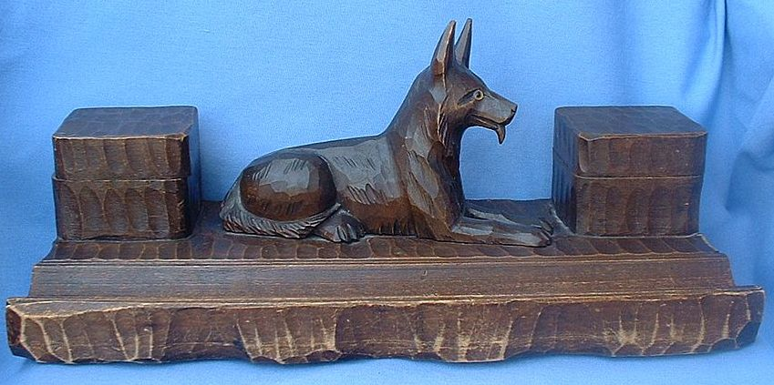 "14"" Black Forest inkwell carved wood German Shepherd Alsatian dog"