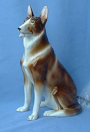 1930 perfume lamp German Shepherd Alsatian dog Germany 9""