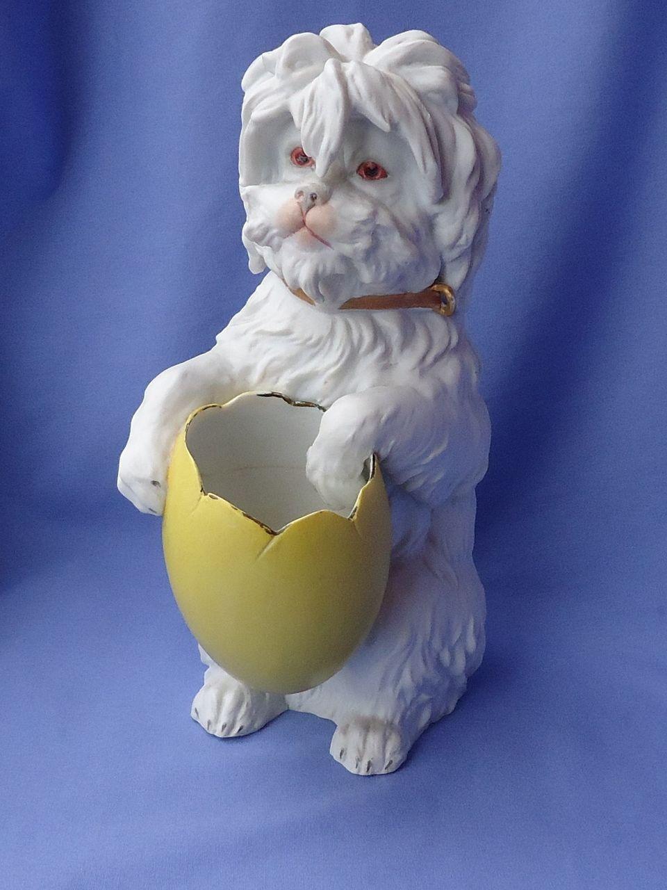"Heubach  Maltese terrier w egg  Germany 9"""
