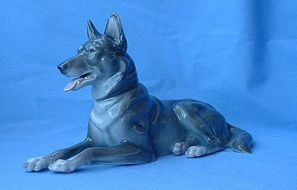 """1900s Heubach German Shepherd  Alsatian dog 9"""""""