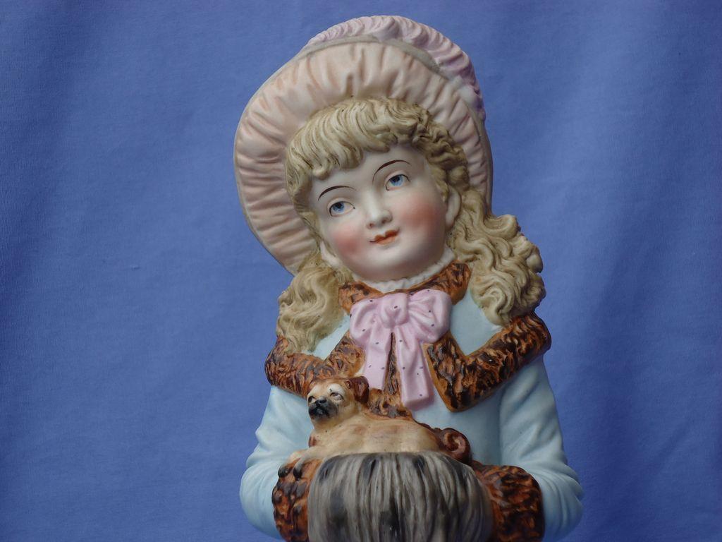 "1890s German bisque Victorian girl w pug Heubach 13"""