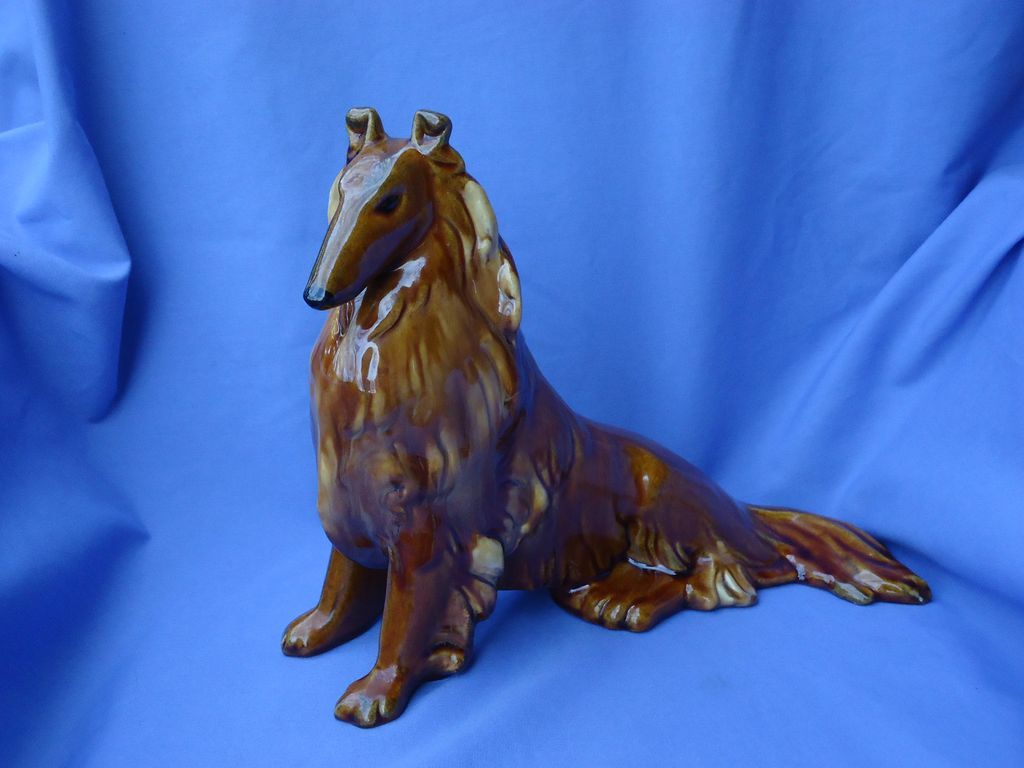 1940s Collie Bennington/Rockingham glaze Royal Haeger 12""
