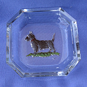 art deco Scottish terrier crystal salt Hoffman Czechoslovakia