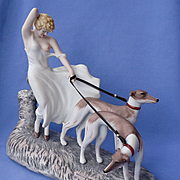 Icart art deco lady w Greyhounds figurine LE#1560