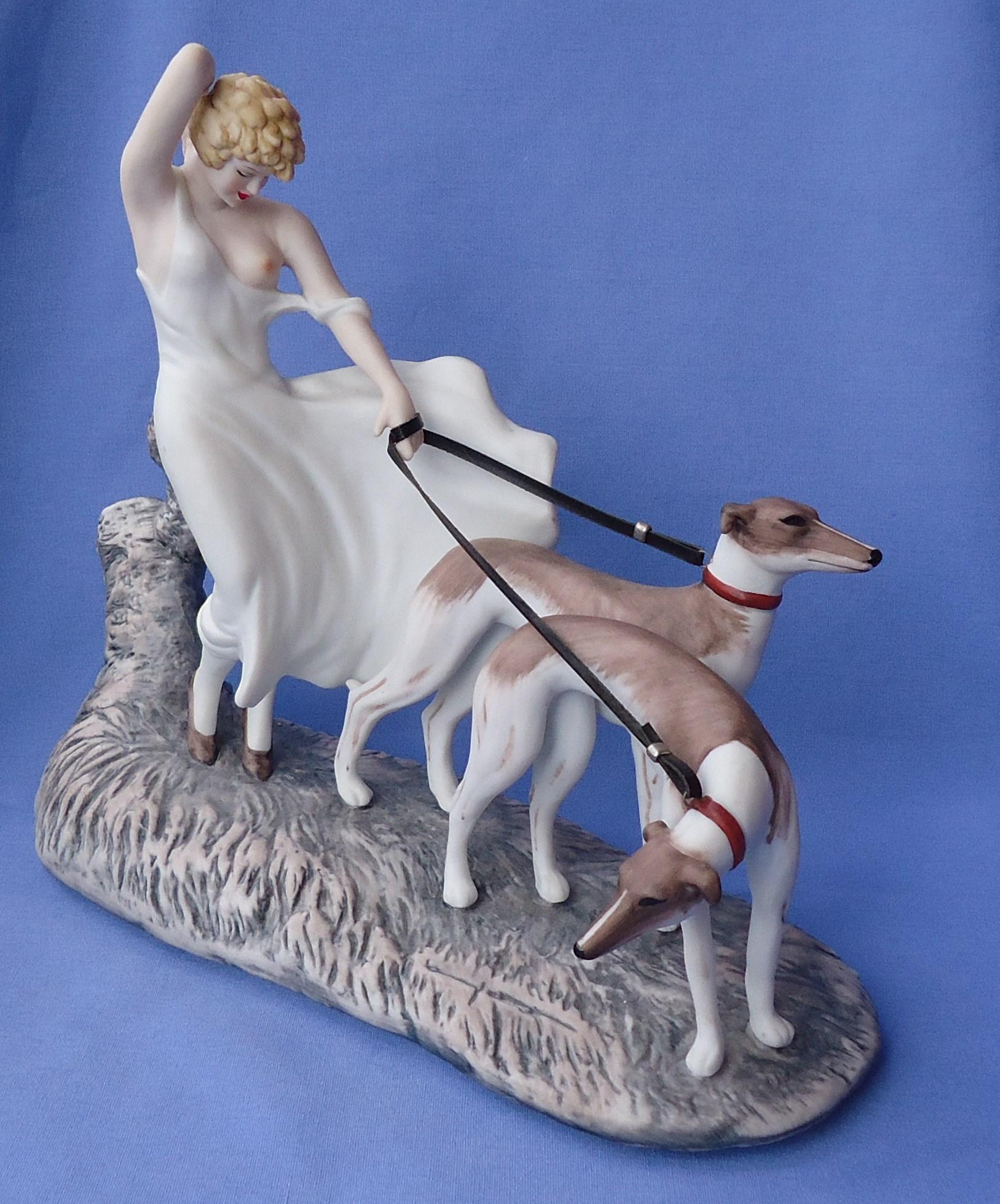 Icart art deco lady w Greyhounds figurine LE#1560