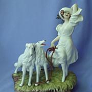 Icart lady & borzoi  figurine LE#348
