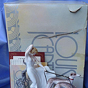 Icart Whippet Italian Greyhound dogs deco lady box
