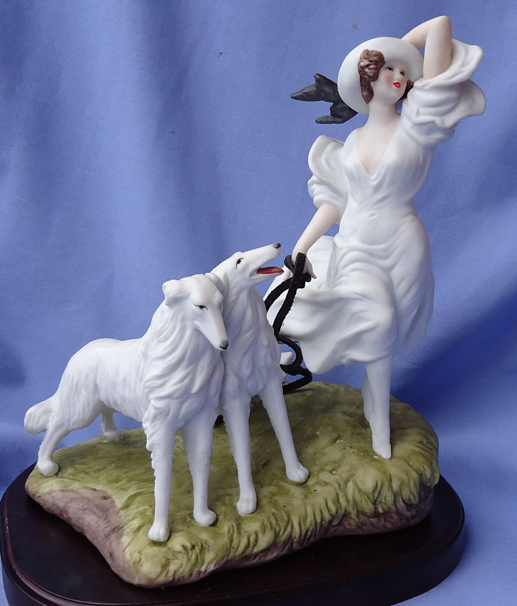 art deco Icart lady & Borzoi figurine