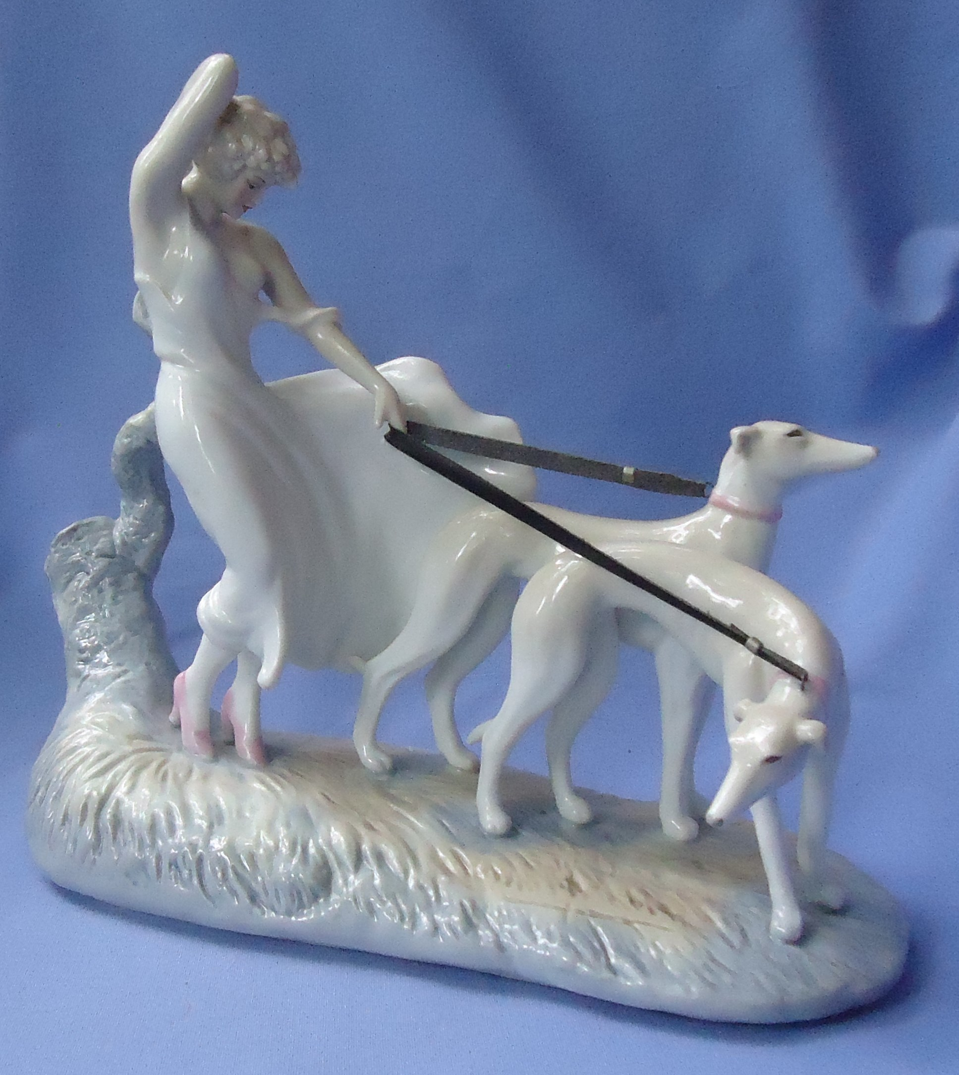 art deco Icart lady greyhounds whippet figurine