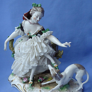 antique whippet Italian Greyhound lace lady Germany