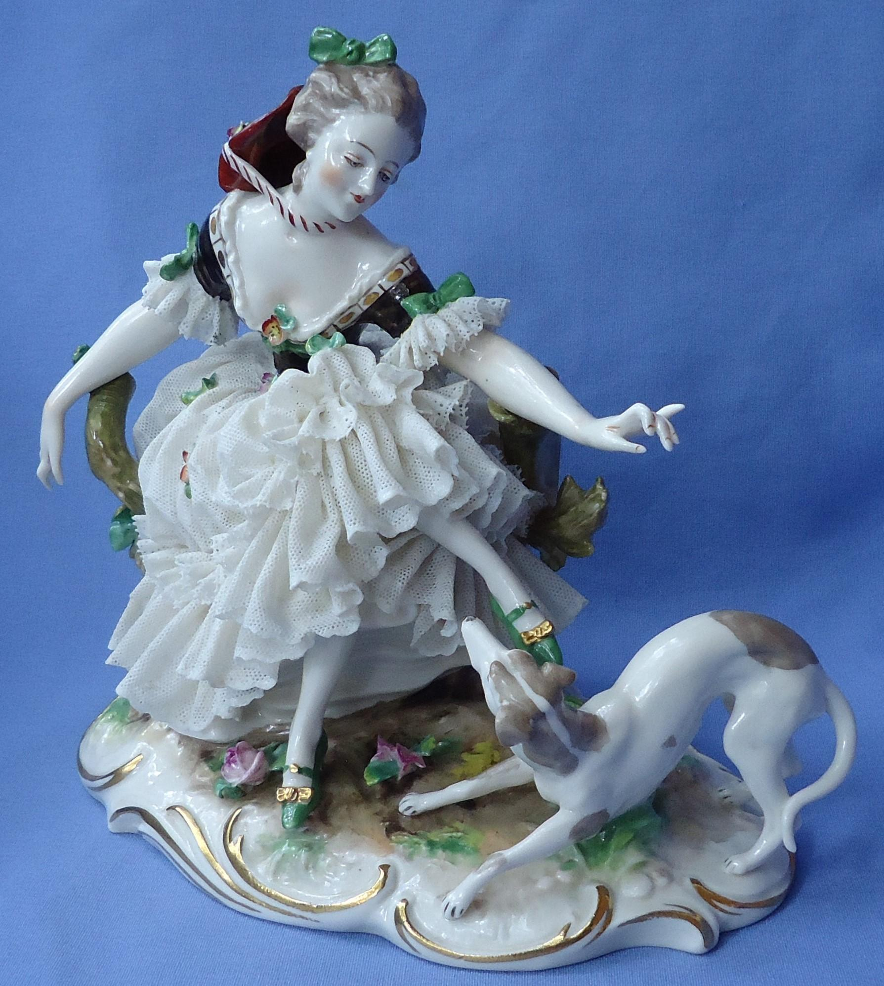 antique whippet Italian Greyhound lace lady  Passau Dressel Kister  Germany