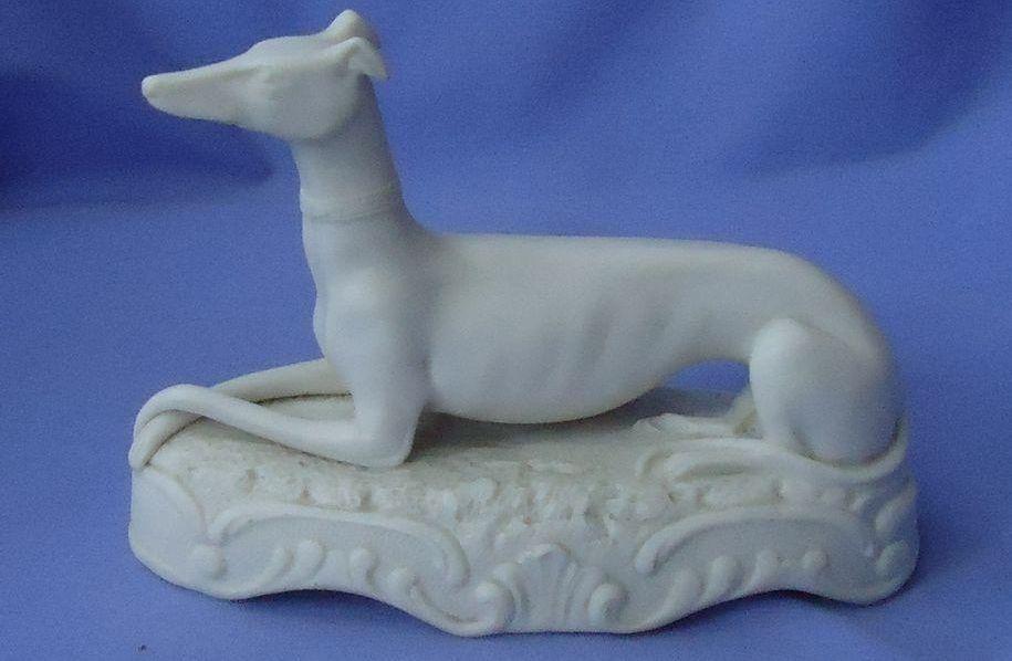 """antique Italian Greyhound Whippet Parian bisque dog  6"""""""