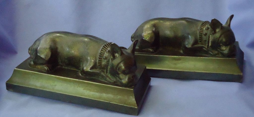 1930s French bulldog bronze bookends JB