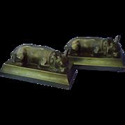 1930s French bulldog bronze bookends JB