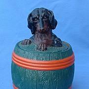 1890 JM 3495 Austria Dachshund dog  humidor tobacco jar