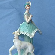 "Whippet Italian  Greyhound  dog & flapper girl  music box 7"""