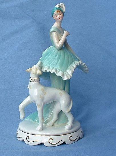 "Htf flapper Whippet Italian  Greyhound  dog music box 7"""