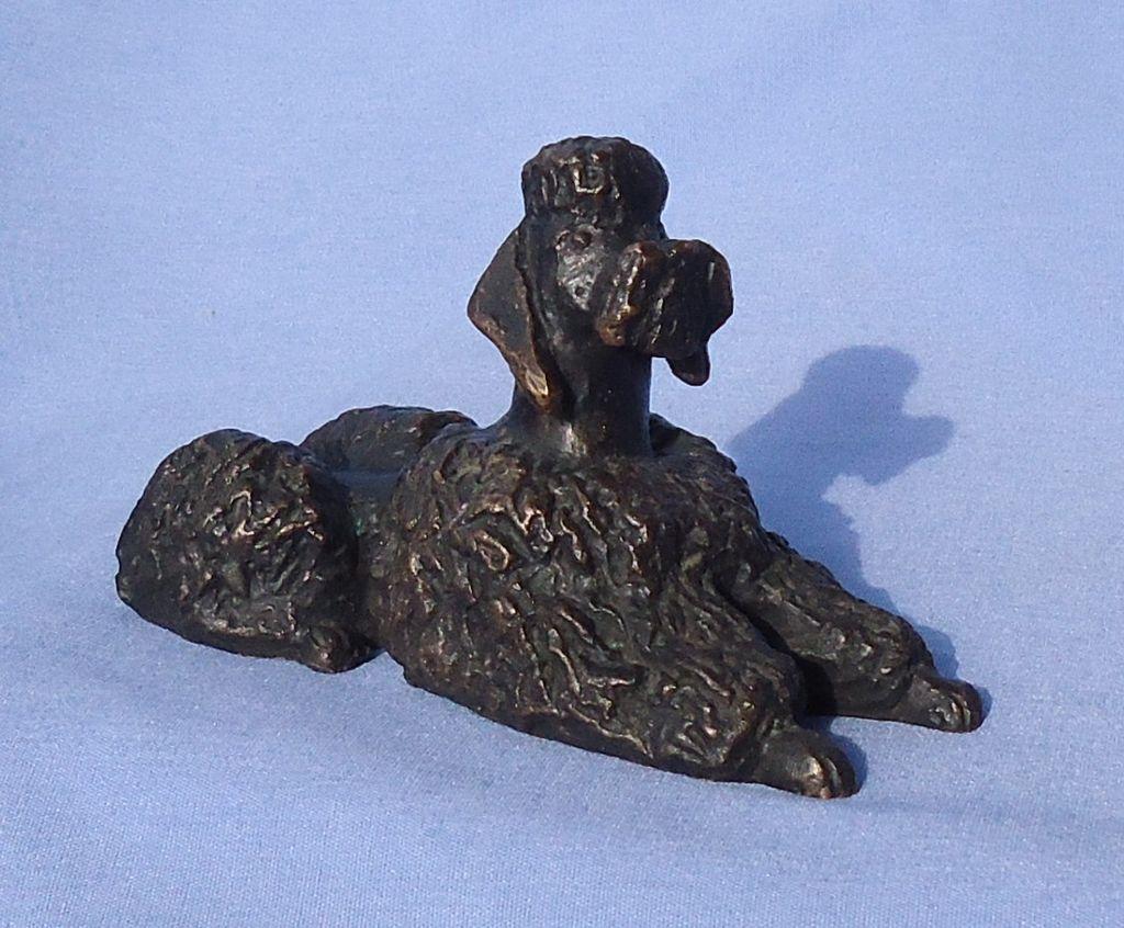 1949 bronze Poodle signed K.M.B.