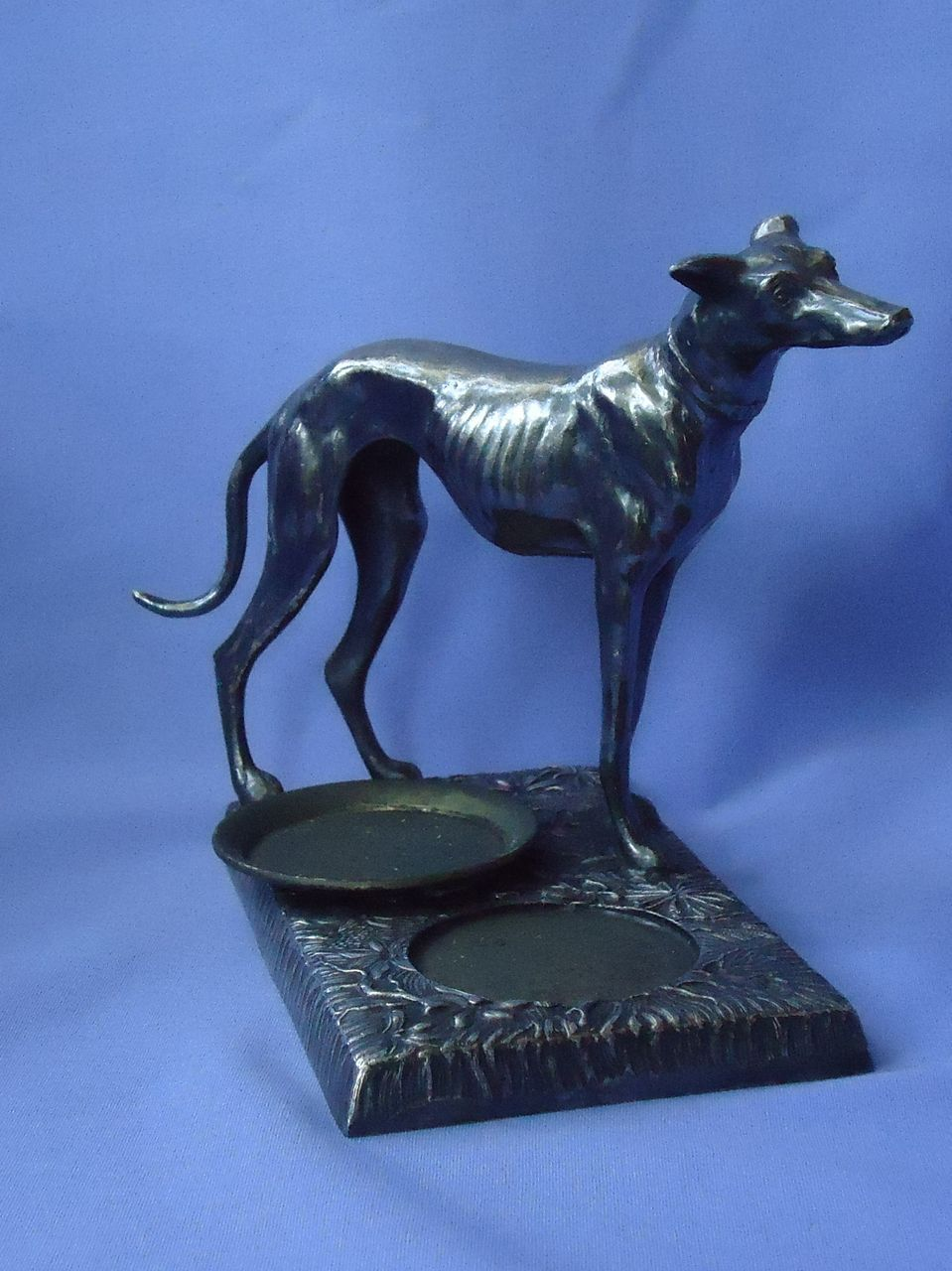 "1930 silver plate  Greyhound Whippet 7"" K&O"